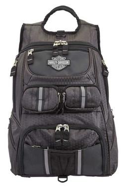 Harley-Davidson Tough Terrain Backpack w/ Helmet Holder - Honeycomb Black 99313 - Wisconsin Harley-Davidson