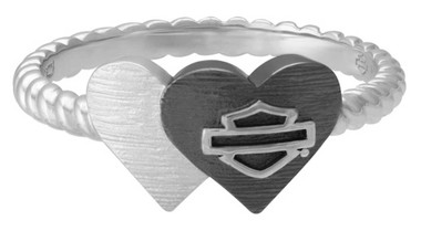 Harley-Davidson Womens Black & Silver Double Heart Ring, Sterling Silver HDR0531 - Wisconsin Harley-Davidson