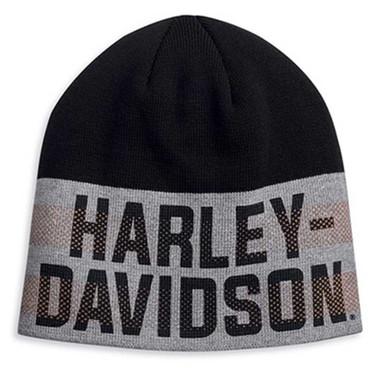 Harley-Davidson Men's Dual Orange Stripe Knit Beanie Cap - Black/Gray 97617-20VM - Wisconsin Harley-Davidson