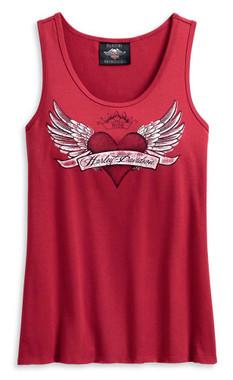 Harley-Davidson Women's Winged Heart Sleeveless Tank Top - Red 96218-20VW - Wisconsin Harley-Davidson