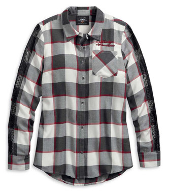 Harley-Davidson Women's Winged Heart Plaid Long Sleeve Shirt 96215-20VW - Wisconsin Harley-Davidson