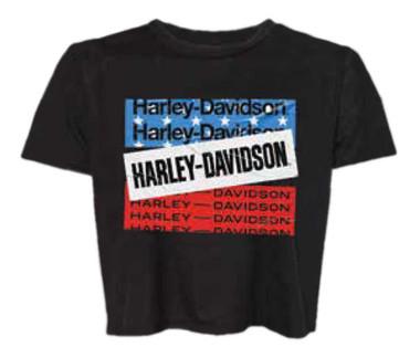 Harley-Davidson Women's Bars & Stars Flowy Cropped Short Sleeve Tee 96512-20VW - Wisconsin Harley-Davidson