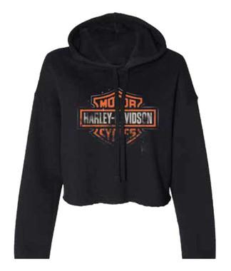 Harley-Davidson Women's Patina B&S Logo Cropped Hoodie, Black 96499-20VW - Wisconsin Harley-Davidson
