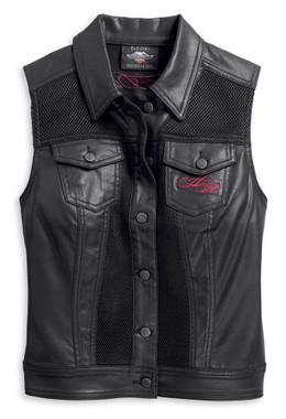Harley-Davidson Women's Mesh Inset Embellished Heart Vest - Black 96219-20VW - Wisconsin Harley-Davidson