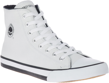 Harley-Davidson Men's Baxter Hi-Top Logo Athletic White Leather Sneakers D93679 - Wisconsin Harley-Davidson