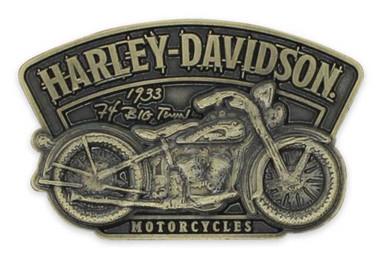 Harley-Davidson 2D Die Cast Timeline Vintage Pin - Antiqued Brass Effect P345263 - Wisconsin Harley-Davidson