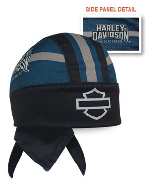 Harley-Davidson Men's Insignia B&S Perforated Headwrap, Black & Blue HW34480 - Wisconsin Harley-Davidson