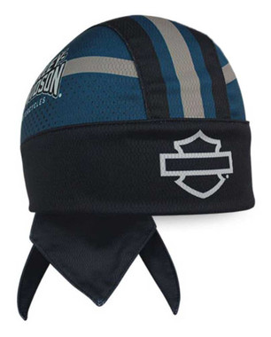 Harley-Davidson Men's Insignia B&S Perforated Headwrap, Black & Blue HW34480 - Wisconsin Harley-Davidson