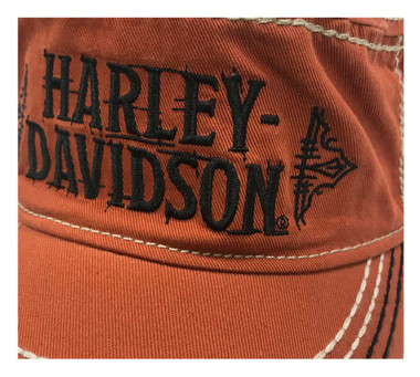 Harley-Davidson Women's Timeline Studded Adjustable Painters Cap, Orange PC34538 - Wisconsin Harley-Davidson