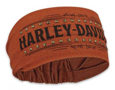 Harley-Davidson Women's Timeline Studded Headband Scrunchie, Rust Orange HE34538 - Wisconsin Harley-Davidson