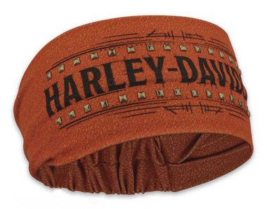 Harley-Davidson Women's Timeline Studded Headband Scrunchie, Rust Orange HE34538 - Wisconsin Harley-Davidson
