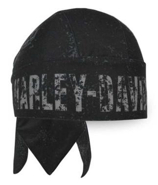 Harley-Davidson Men's Premium Distressed H-D Polyester Headwrap, Black HW34330 - Wisconsin Harley-Davidson