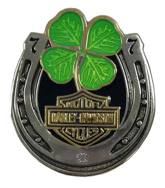 Harley-Davidson 1.25 in. Lucky Clover Horseshoe Pin, Antique Finish 8009212 - Wisconsin Harley-Davidson