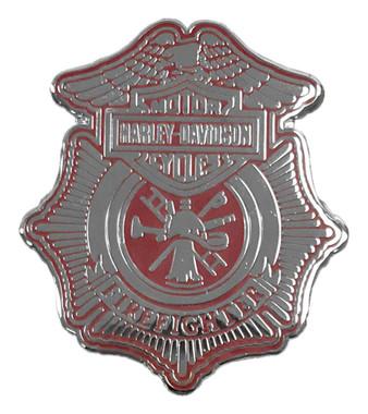 Harley-Davidson 1.25 in. Firefighter Shield Pin, Shiny Silver Finish 8009137 - Wisconsin Harley-Davidson