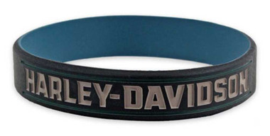 Harley-Davidson Debossed Insignia H-D Silicone Wristband, Steel Blue WB34489 - Wisconsin Harley-Davidson