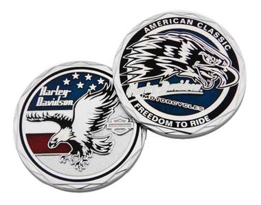 Harley-Davidson American Flag Eagle Challenge Coin, 1.75 inch. Silver 8009045 - Wisconsin Harley-Davidson