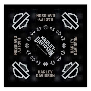 Harley-Davidson Men's Insignia B&S Cotton Bandana - Black, 24 x 24 inch BA34430 - Wisconsin Harley-Davidson