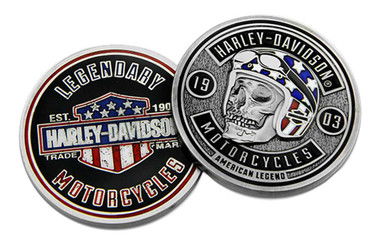 Harley-Davidson Biker Skull Flag Challenge Coin, 1.75 in. Silver & Black 8009052 - Wisconsin Harley-Davidson