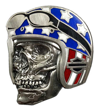 Harley-Davidson 1.25 in. Biker Skull Flag Pin, Antique Nickel Finish 8009069 - Wisconsin Harley-Davidson