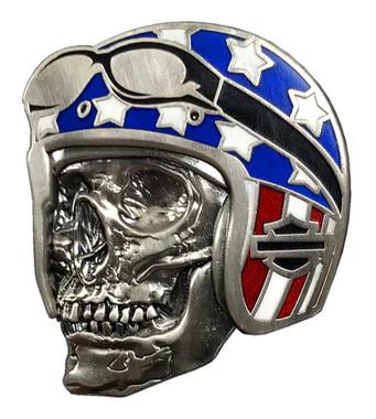 Harley-Davidson 1.25 in. Biker Skull Flag Pin, Antique Nickel Finish 8009069 - Wisconsin Harley-Davidson