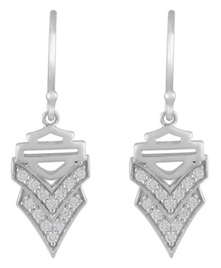 Harley-Davidson Women's Chevron Embellished B&S Drop Earrings, Silver HDE0553 - Wisconsin Harley-Davidson