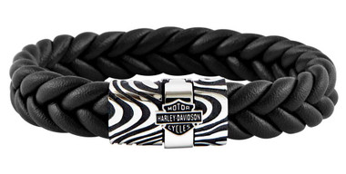 Harley-Davidson Men's Driftwood Flat Braided Leather Bracelet - Steel HSB0226 - Wisconsin Harley-Davidson