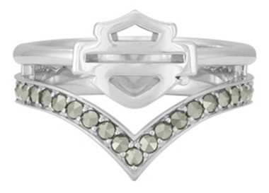 Harley-Davidson Women's Chevron Marcasite Stone Ring, Sterling Silver HDR0540 - Wisconsin Harley-Davidson