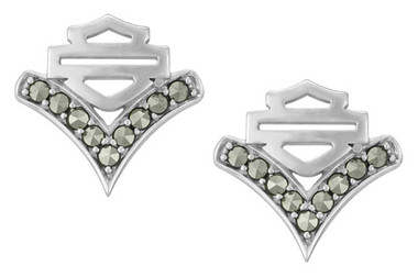 Harley-Davidson Women's Chevron Marcasite Stone Post Earrings, Silver HDE0557 - Wisconsin Harley-Davidson