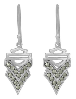 Harley-Davidson Women's Chevron Marcasite Stone Drop Earrings, Silver HDE0554 - Wisconsin Harley-Davidson