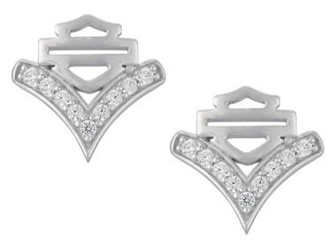Harley-Davidson Women's Chevron Embellished B&S Post Earrings, Silver HDE0556 - Wisconsin Harley-Davidson