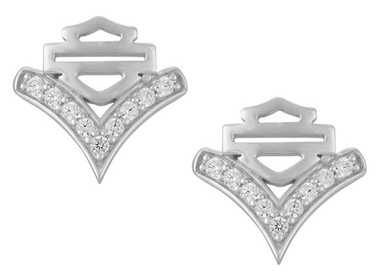 Harley-Davidson Women's Chevron Embellished B&S Post Earrings, Silver HDE0556 - Wisconsin Harley-Davidson