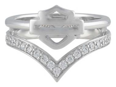 Harley-Davidson Women's Chevron Bling Stone B&S Ring, Sterling Silver HDR0539 - Wisconsin Harley-Davidson