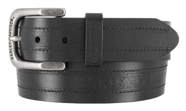 Harley-Davidson Men's Road Trip H-D Genuine Leather Belt - Antique Nickel Buckle - Wisconsin Harley-Davidson