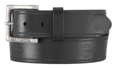 Harley-Davidson Men's Low Ride B&S Genuine Leather Belt - Antique Nickel Buckle - Wisconsin Harley-Davidson