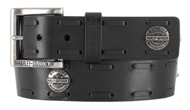Harley-Davidson Men's Maverick B&S Genuine Leather Belt w/ Antique Nickel Buckle - Wisconsin Harley-Davidson