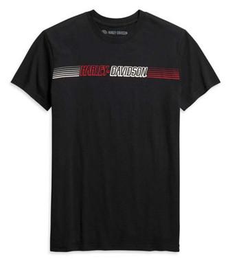 Harley-Davidson Men's Chest Stripe Slim Fit Short Sleeve Tee, Black 99091-20VH - Wisconsin Harley-Davidson