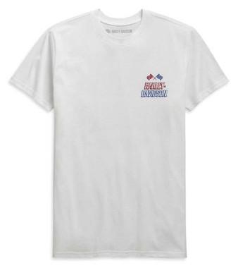 Harley-Davidson Men's Race Flag Slim Fit Short Sleeve T-Shirt, White 99089-20VH - Wisconsin Harley-Davidson
