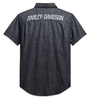 Harley-Davidson Men's Chambray Slim Fit Short Sleeve Woven Shirt 99088-20VH - Wisconsin Harley-Davidson