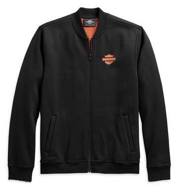 Harley-Davidson Men's Vertical Stripe Fleece Casual Jacket, Black 98407-20VM - Wisconsin Harley-Davidson
