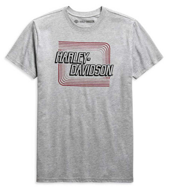 Harley-Davidson Men's Retro Outline Slim Fit Short Sleeve Tee, Gray 99090-20VH - Wisconsin Harley-Davidson