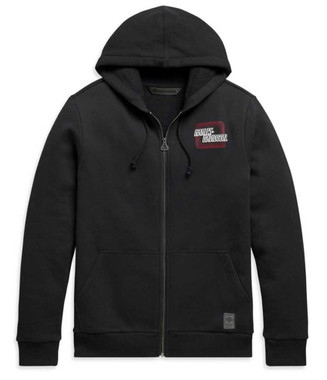 Harley-Davidson Men's Retro Outline Slim Fit Full-Zip Hoodie - Black 99097-20VH - Wisconsin Harley-Davidson