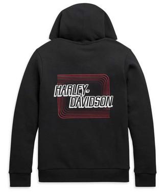 Harley-Davidson Men's Retro Outline Slim Fit Full-Zip Hoodie - Black 99097-20VH - Wisconsin Harley-Davidson