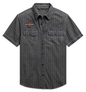 Harley-Davidson Men's Vintage B&S Logo Short Sleeve Plaid Woven Shirt 99102-20VM - Wisconsin Harley-Davidson