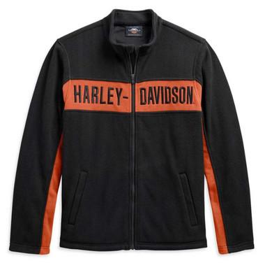 Harley-Davidson Men's Chest Stripe Activewear Zip-Up Jacket, Black 99087-20VM - Wisconsin Harley-Davidson