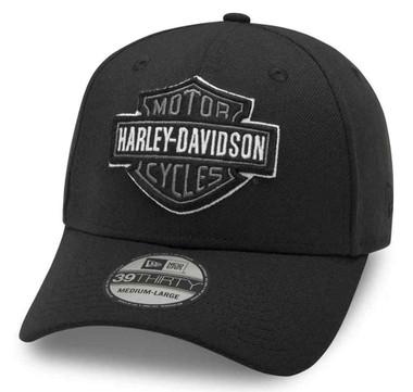 Harley-Davidson Men's Tonal B&S Logo 39THIRTY Baseball Cap, Black 99421-20VM - Wisconsin Harley-Davidson