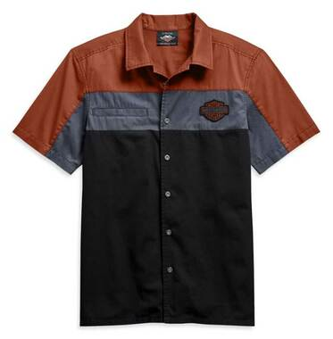 Harley-Davidson Men's Copperblock Short Sleeve Woven Shirt, Black 99080-20VM - Wisconsin Harley-Davidson