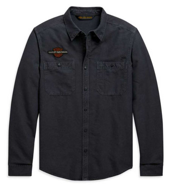 Harley-Davidson Men's Vintage Eagle Long Sleeve Woven Shirt, Gray 99103-20VM - Wisconsin Harley-Davidson