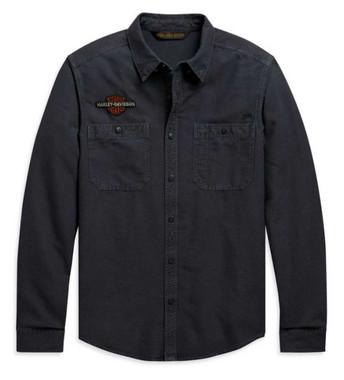 Harley-Davidson Men's Vintage Eagle Long Sleeve Woven Shirt, Gray 99103-20VM - Wisconsin Harley-Davidson