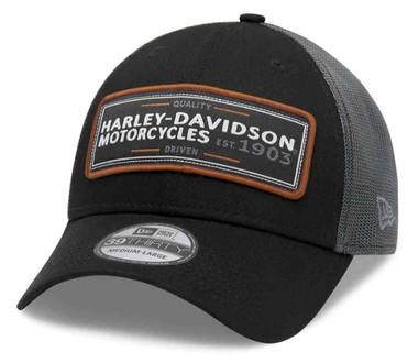 Harley-Davidson Men's Flying Eagle 39THIRTY Mesh Baseball Cap, Black 99409-20VM - Wisconsin Harley-Davidson