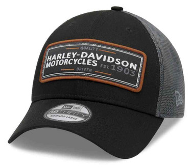 Harley-Davidson Men's Flying Eagle 39THIRTY Mesh Baseball Cap, Black 99409-20VM - Wisconsin Harley-Davidson